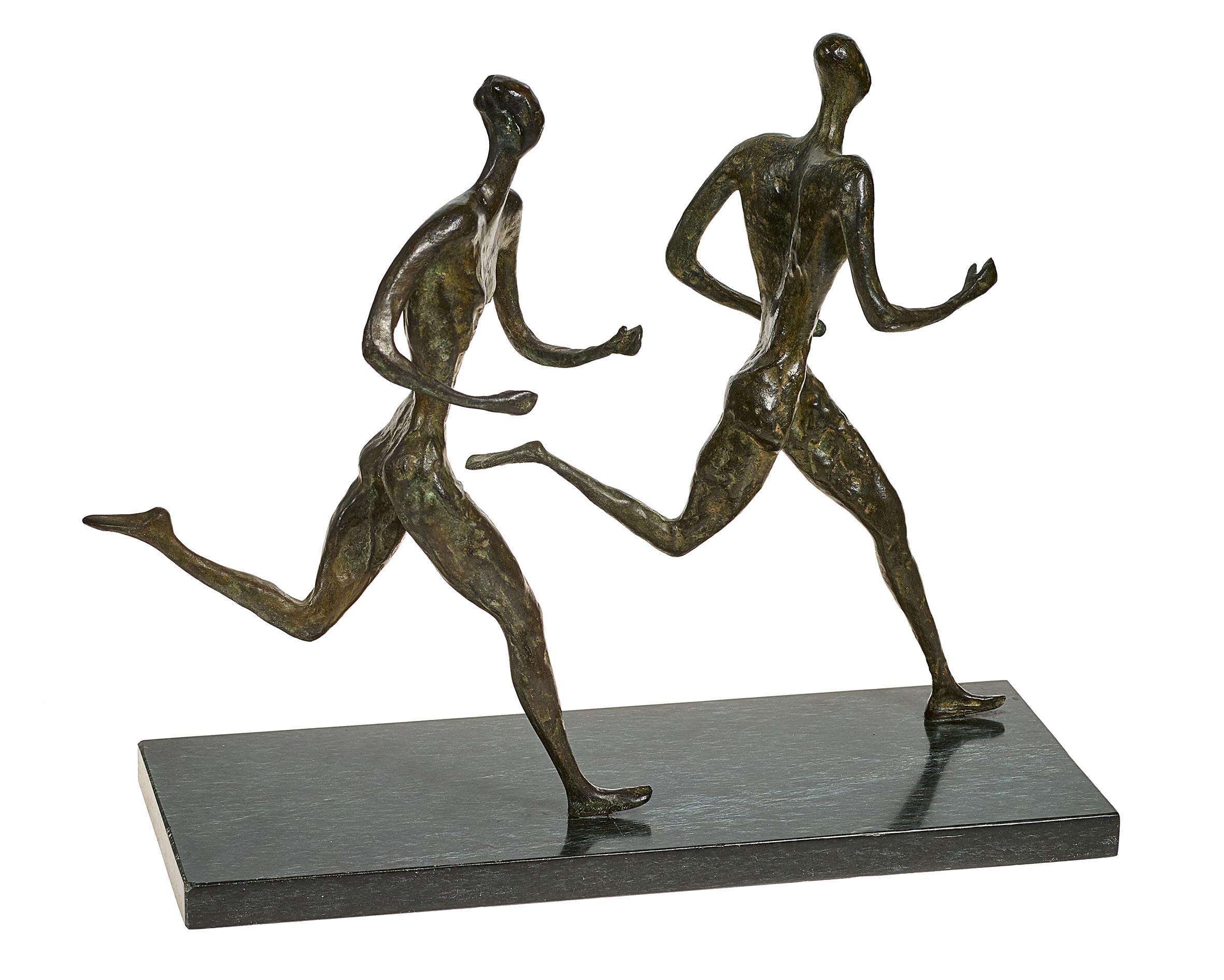 "Lot 59 - PERINCIOLI, MARCEL1911 Bern 2005Zwei Läufer.Bronze, patiniert,a. Plinthe sig. ""Perincioli"", dat. ("