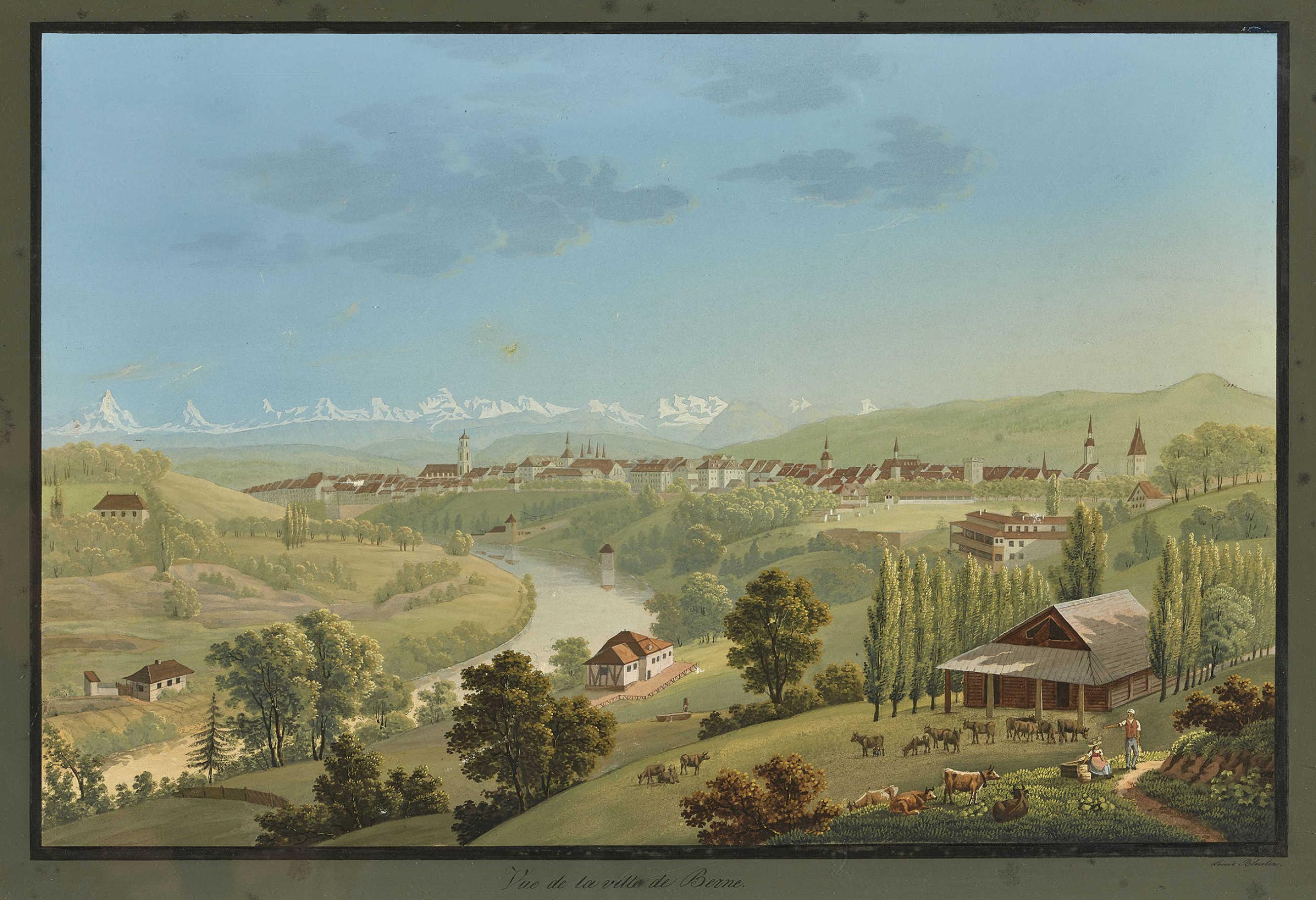 Lot 1 - BLEULER, JOHANN LUDWIGFeuerthalen 1792 - 1850 Laufen-UhwiesenVue de la ville de Berne.Gouache über