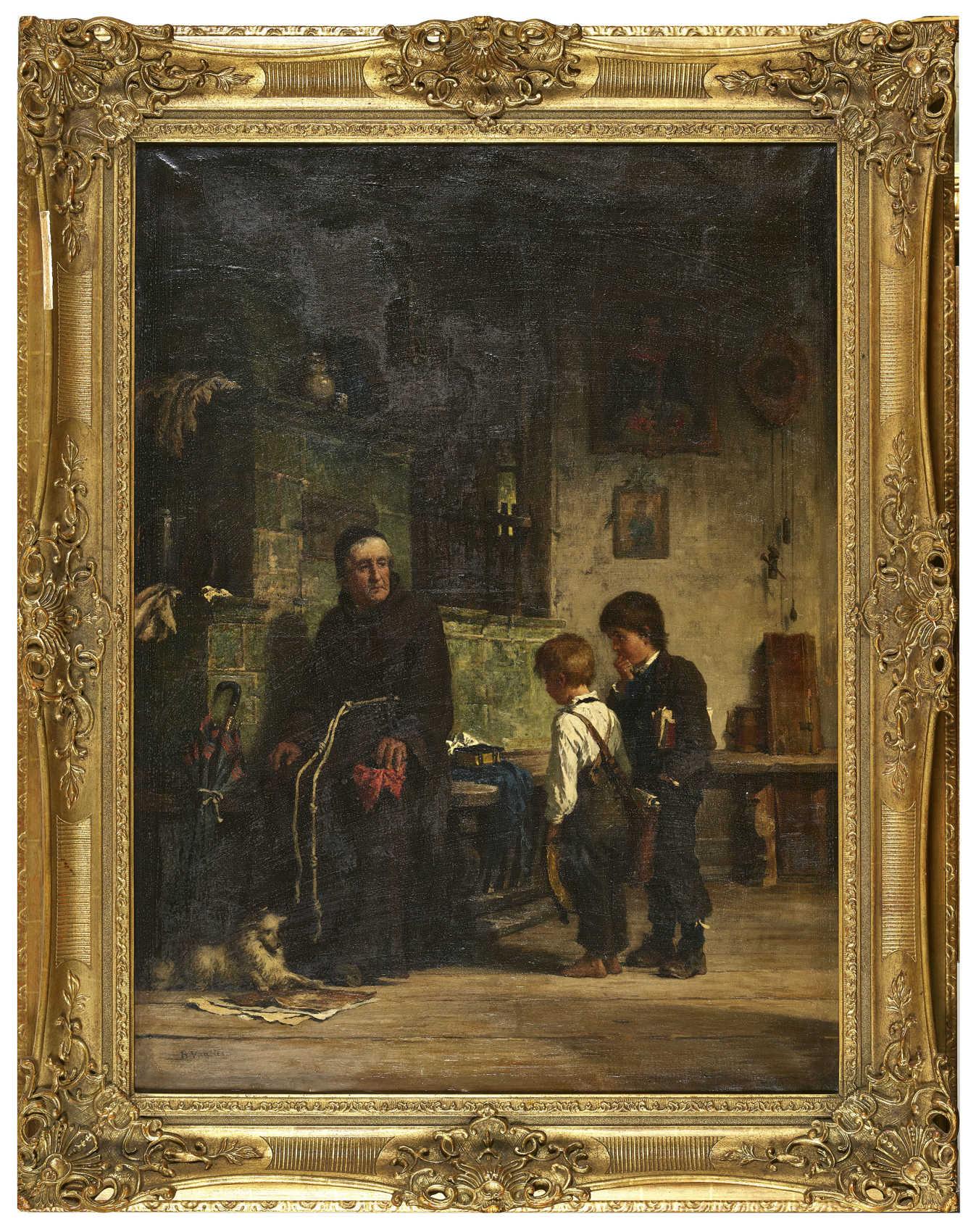 Lot 21 - VAUTIER, BENJAMIN IMorges 1829 - 1898 DüsseldorfMönch mit zwei Schülern.Öl auf Leinwand,sig. u.l.,
