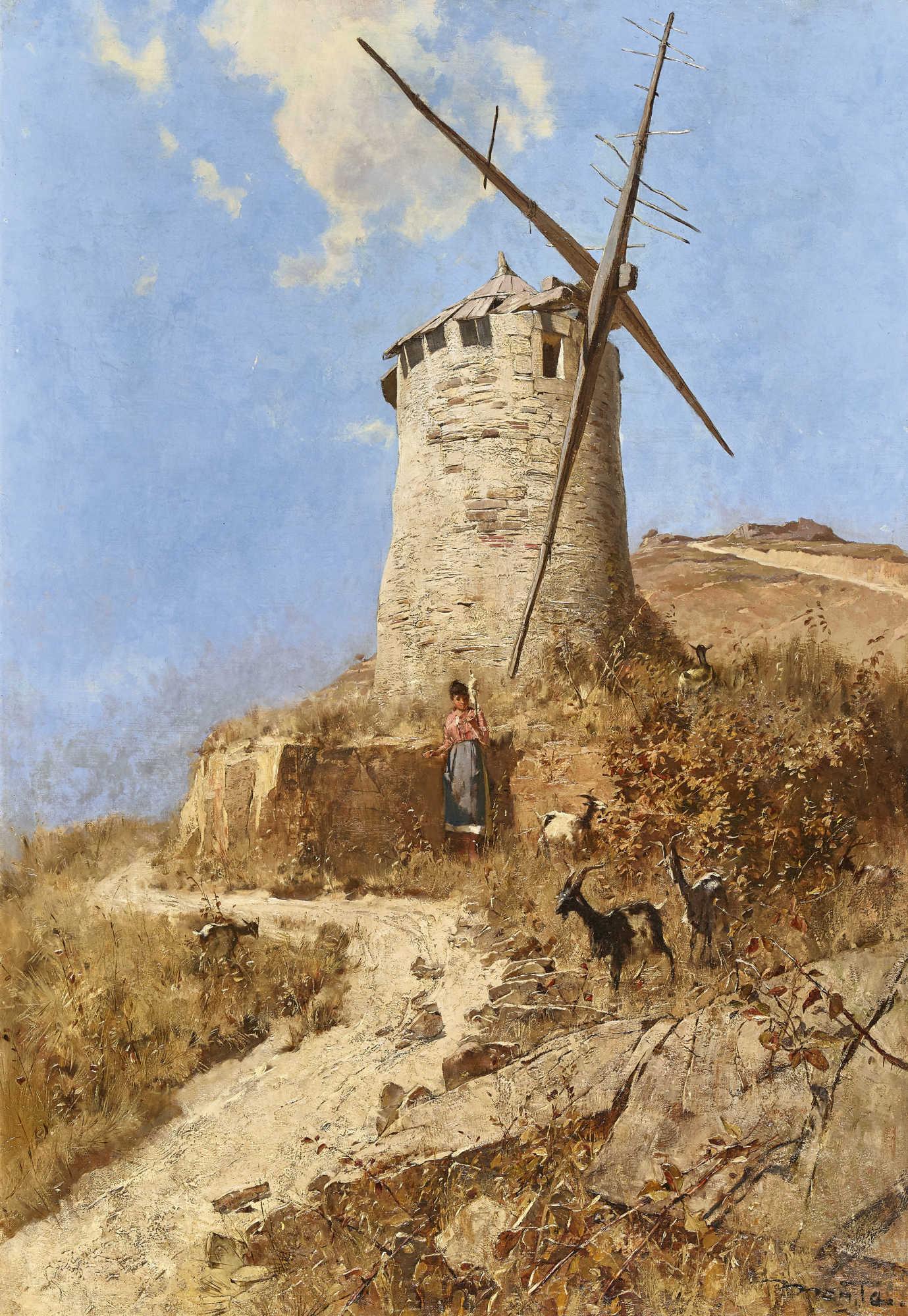 Lot 9 - MENTHA, ÉDOUARD JOHN (AUCH MENTA)1858 Genève 1915Moulin d'Alphonse Daudet (Fontvieille).Öl auf