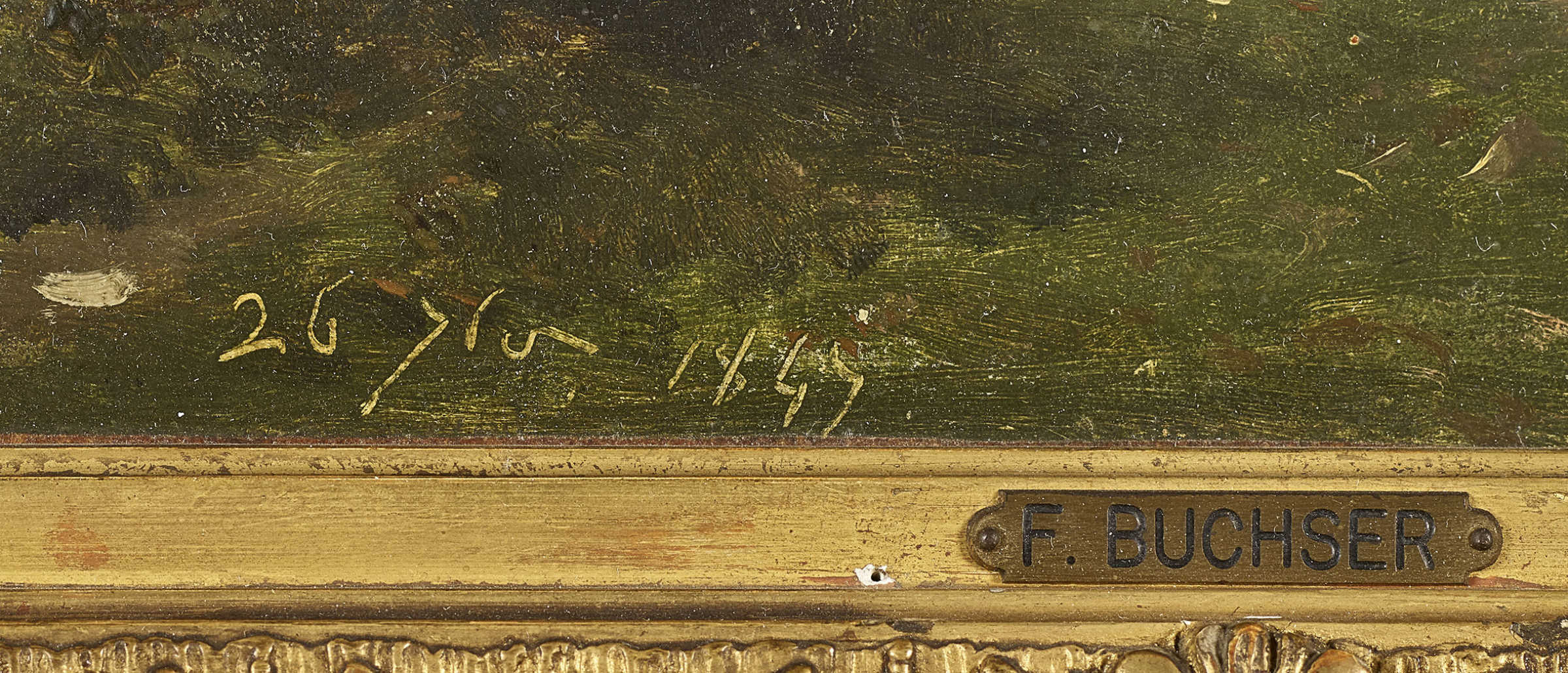 """Lot 29 - BUCHSER, FRANK1828 Feldbrunnen 1890UmkreisWaldlandschaft.Öl auf Papier, auf Leinwand,dat. """"26"""