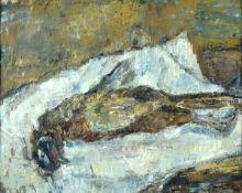 Böttcher, ManfredÖl auf Leinwand, 40,5 x 50 cmStillleben mit totem Vogel (1986)Signiert. Verso auf