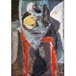 Böttcher, ManfredÖl auf Hartfaserplatte, 100 x 70 cmAbstelltisch I Stillleben auf rotem Stuhl (