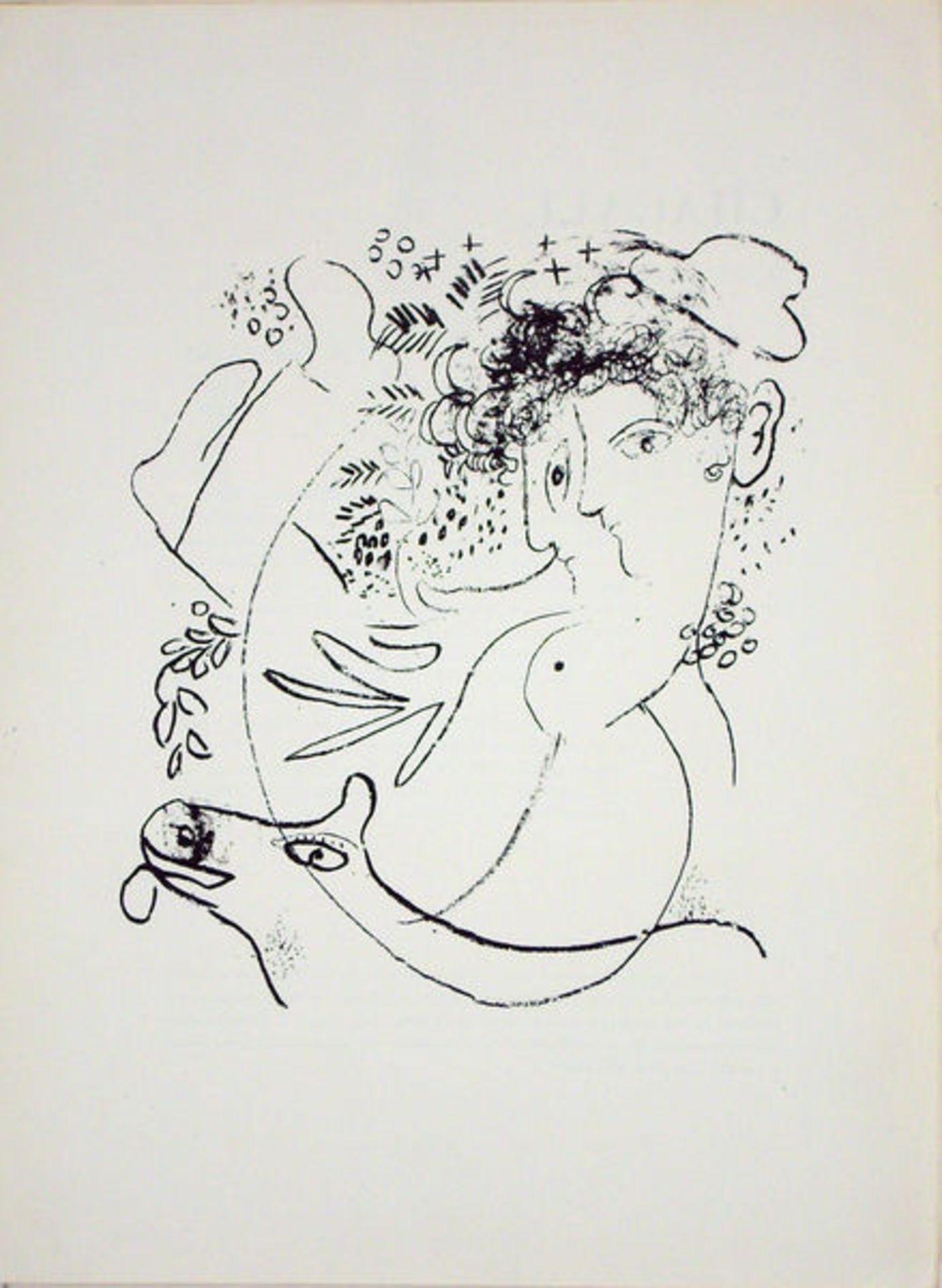 Chagall, Marc3 Lithographien auf unterschiedlichen PapierenDie beiden Profile/Vor dem Gemälde/