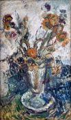 Böttcher, ManfredÖl auf Leinwand, 50 x 30 cmBlumen in Vase (1971)Auf der Rückseite der Leinwand