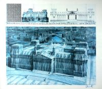 ChristoFarboffset auf Offsetpapier, 62 x 69,2 cmWrapped Reichstag Project for Berlin (1994)