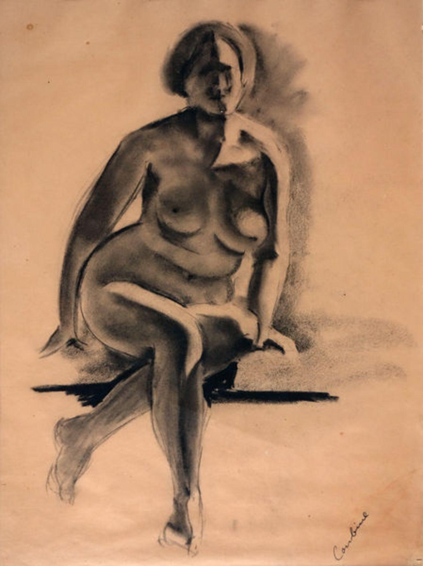 Coubine (das ist Otakar Kubín), OthonKohlezeichnung auf hellbraunem Papier, 43 x 32 cmSitzender
