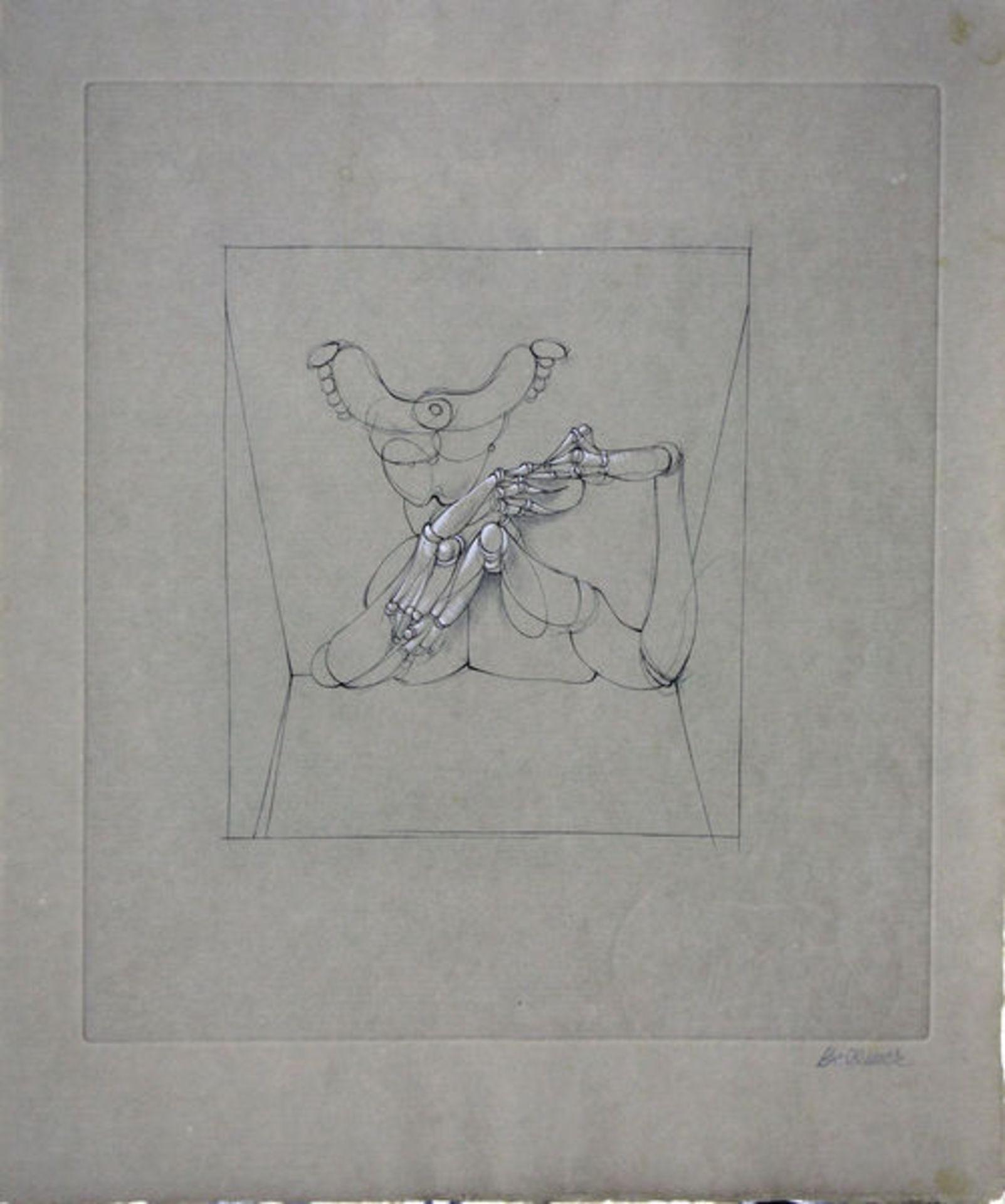Bellmer, HansRadierung schablonenkoloriert auf hellbraunem doppelbogigem Roma VelinLes Marionettes