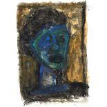 """Böttcher, ManfredGouache auf Papier, 41,7 x 29 cmKopfstudie in Blau (1980)Verso Stempel """"Manfred"""