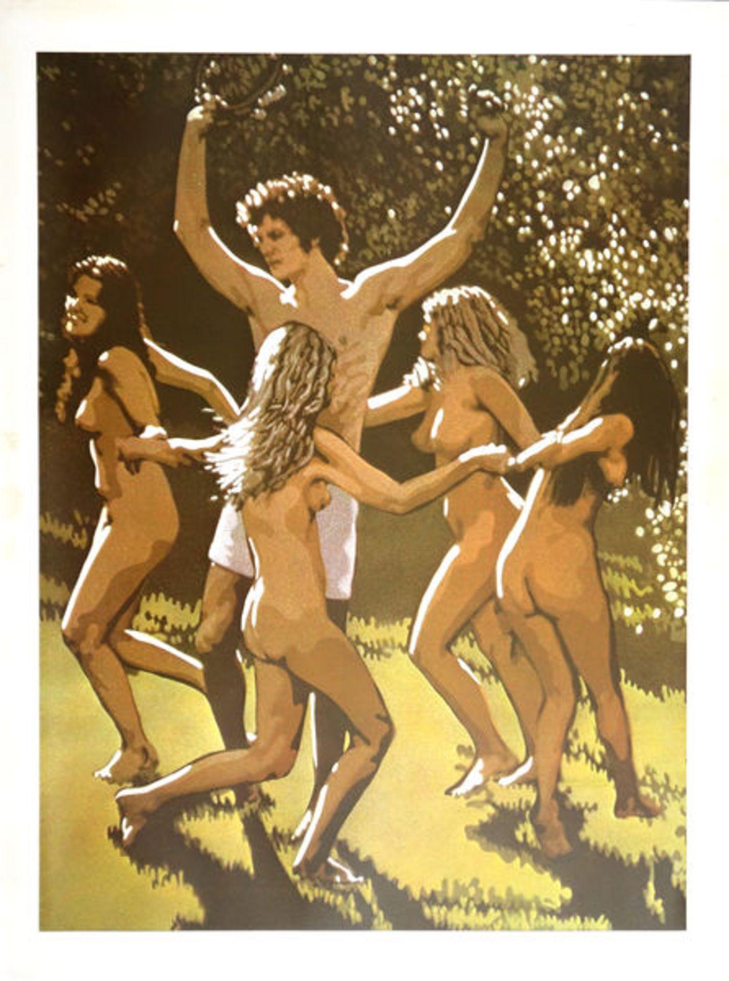 Clarke, John ClemFarbserigraphie auf Papier, 76,2 x 55,7 cmApoll und tanzende Nymphen (1970)Verso