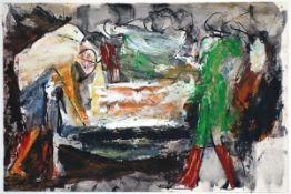 """Böttcher, ManfredGouache und Deckweiss auf Papier, 25 x 37,5 cmAbschied (um 1980)Verso Stempel """""""