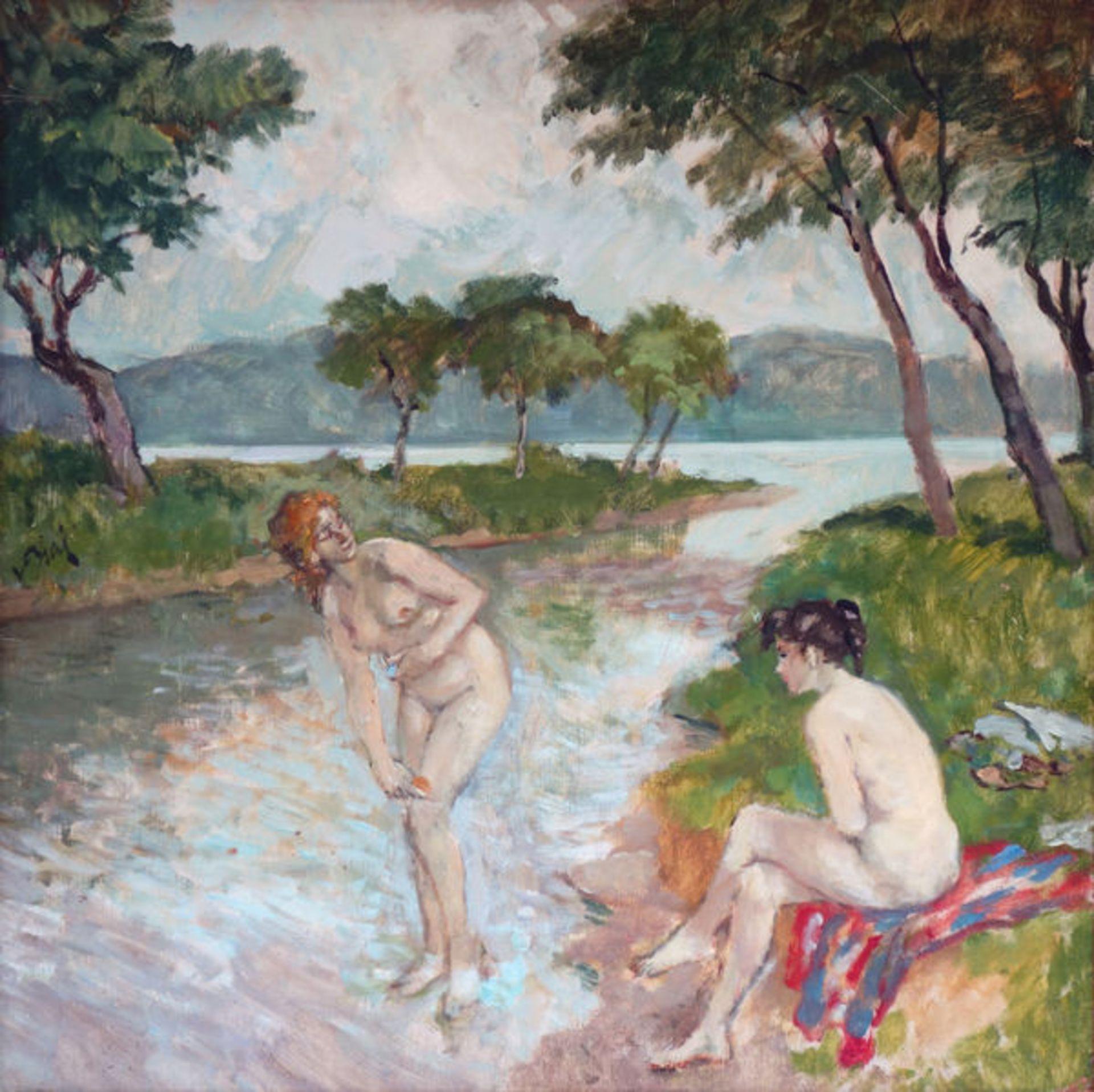 Biai-Föglein, JstvánÖl auf Pappe, 65,5 x 65,5 cmZwei BadendeSigniert links Mitte. Gerahmt. Leicht