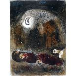 Chagall, MarcFarblithographie auf Velin, 35,5 x 26,3 cmRuth aux pieds de Booz (1960)Mourlot 248.