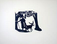 Bauschert, Heiner3 Holzschnitte auf BüttenSelbst (1977)/Frau und Ziege (1977)/Katze (1986)Sämtlich