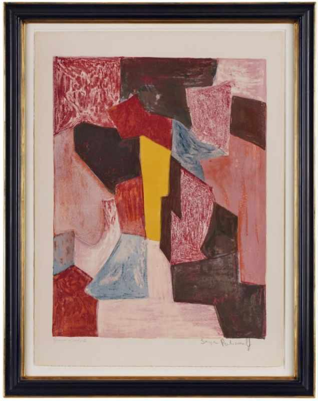 "Lot 10 - Lithographie Serge Poliakoff1900 Moskau - 1969 Paris ""Komposition in Rot, Karminrot und Gelb"" 1958"