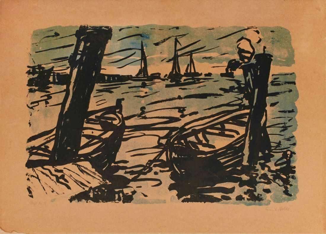 """Lot 13 - Farblithografie Emil Nolde1867 Nolde - 1956 Neukirchen """"Boote"""" 1907 u. re. sign. Emil Nolde u. li."""