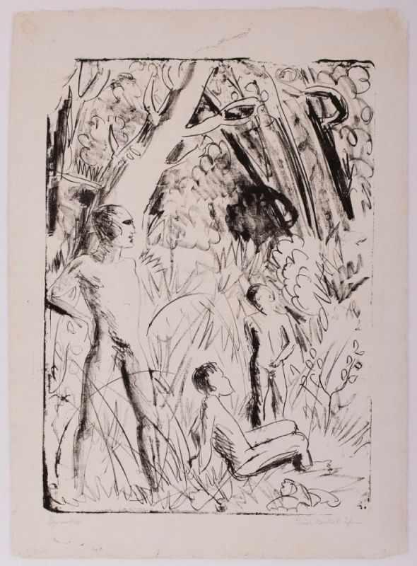 "Lot 12 - Lithografie Erich Heckel1883 Döbeln - 1970 Radolfzell ""Figurenskizze"" 1927 u. re. sign. u. dat."
