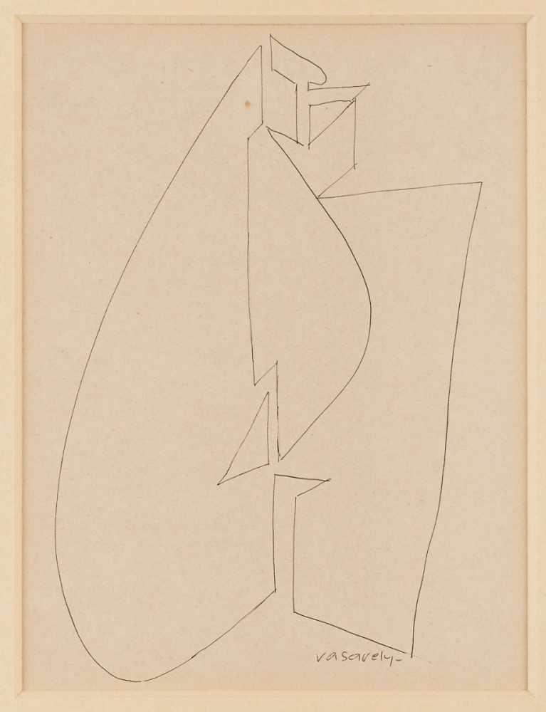 """Lot 41 - TuschfederzeichnungVictor Vasarely 1906 Pécs - 1997 Paris """"o.T."""" u. re. sign. Vasarely 24,8 x 18,6"""