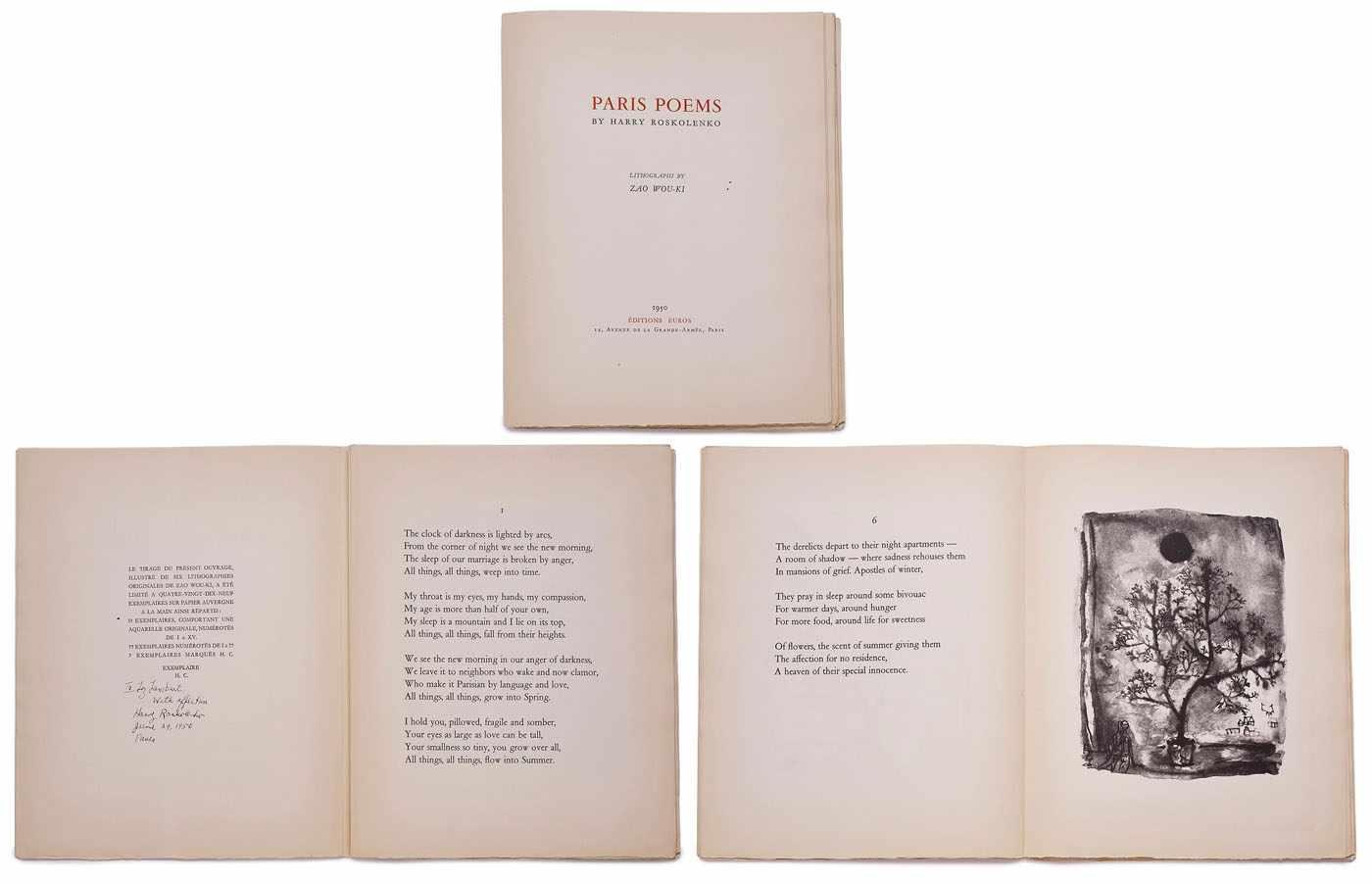 """Lot 18 - Band Harry Roskolenko""""Paris Poems"""" Éditions Euros, Paris 1950. mit: 6 Lithografien von Zao Wou-Ki"""