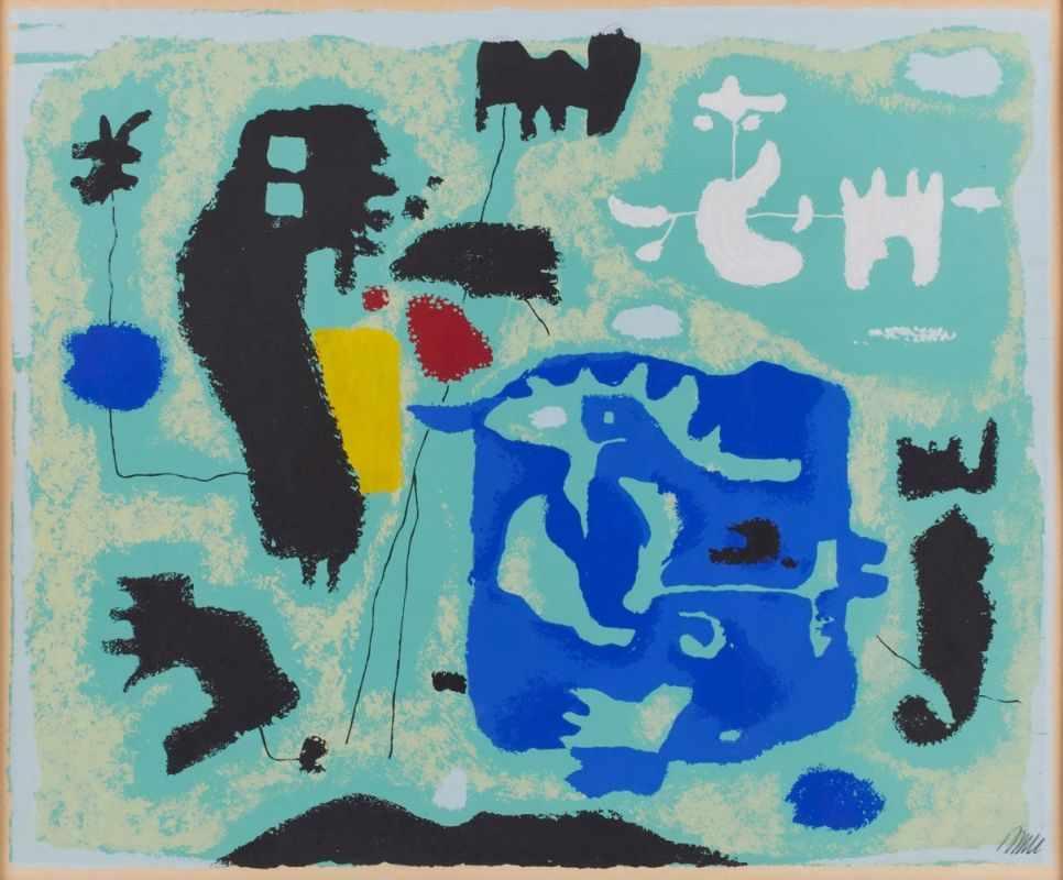 """Lot 40 - Farbserigraphie Willi Baumeister1889 Stuttgart - 1955 Stuttgart """"Komposition in Grün"""" 1954 u. re."""