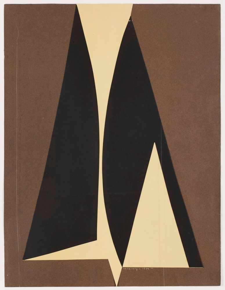 """Lot 14 - Collage Victor Vasarely1906 Pècs - 1997 Paris """"Composition"""" u. re. sign. u. dat. Vasarely 1950 64,"""