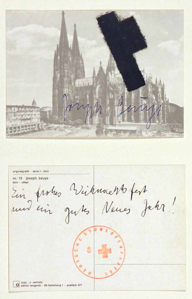 Lot 27 - Joseph BeuysKrefeld 1921 - 1986 DüsseldorfZwei Köln-Postkarten. Offsets.1968/74. Jeweils 10,3 x 14,5