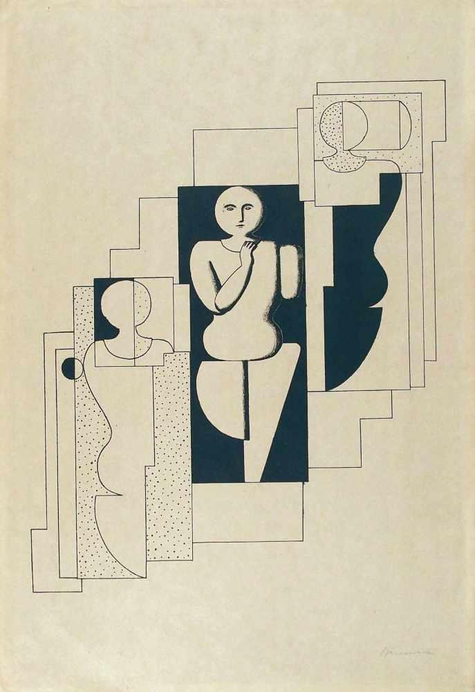 Lot 13 - Willi BaumeisterStuttgart 1889 - 1955 StuttgartTreppen-Komposition. Lithographie. 1921. 37 x 31,5 cm