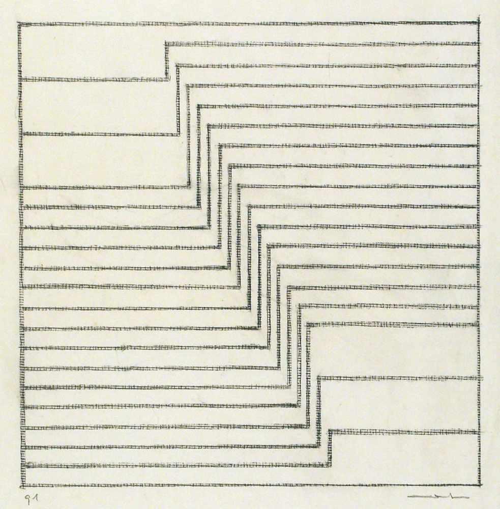 Lot 58 - Leo ErbSt.Ingbert 1923 - 2012 KaiserslauternOhne Titel (Linienzeichnung). Bleistift. 1991. 29,7 x 25