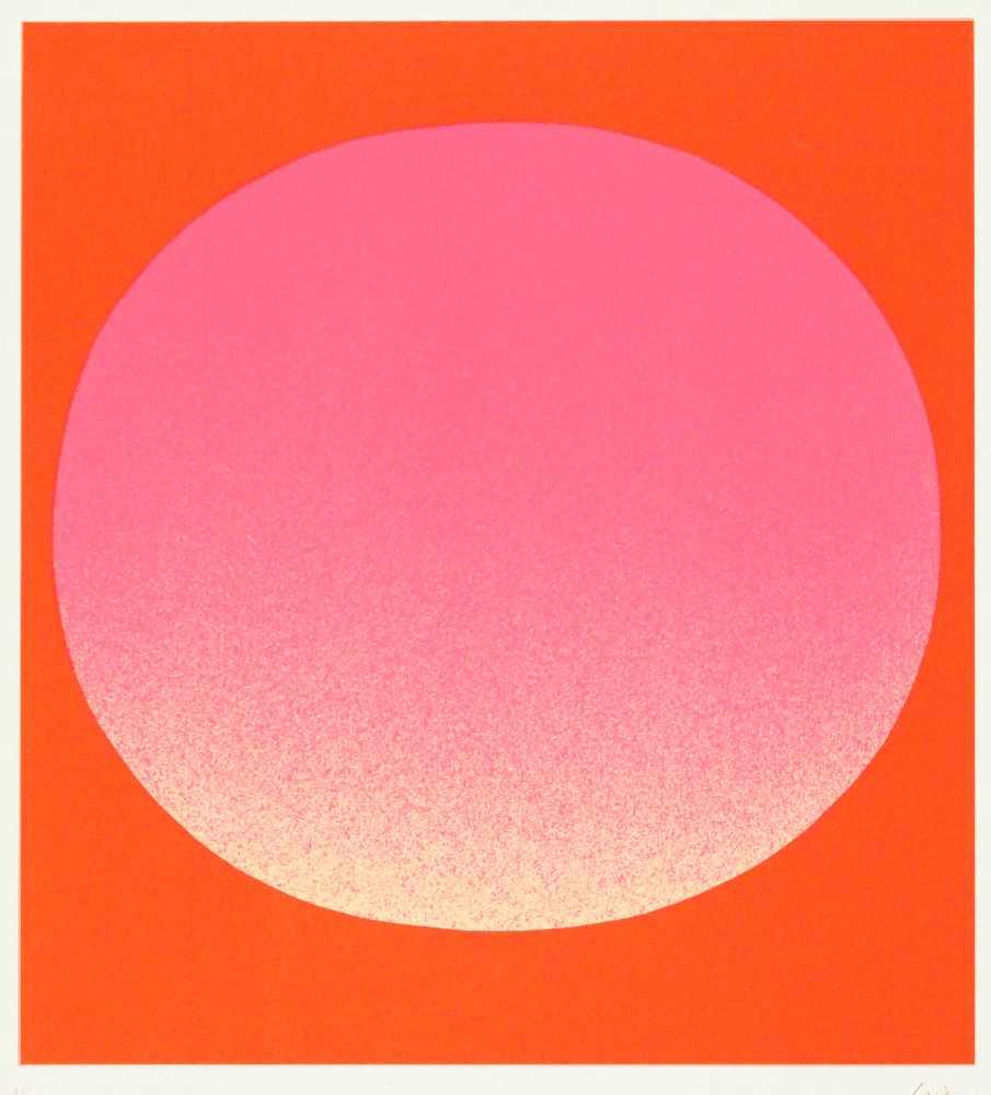 Lot 73 - Rupprecht GeigerMünchen 1908 - 2009 MünchenLeuchtrot kalt auf orange. Farb. Siebdruck. 1967. 43,8