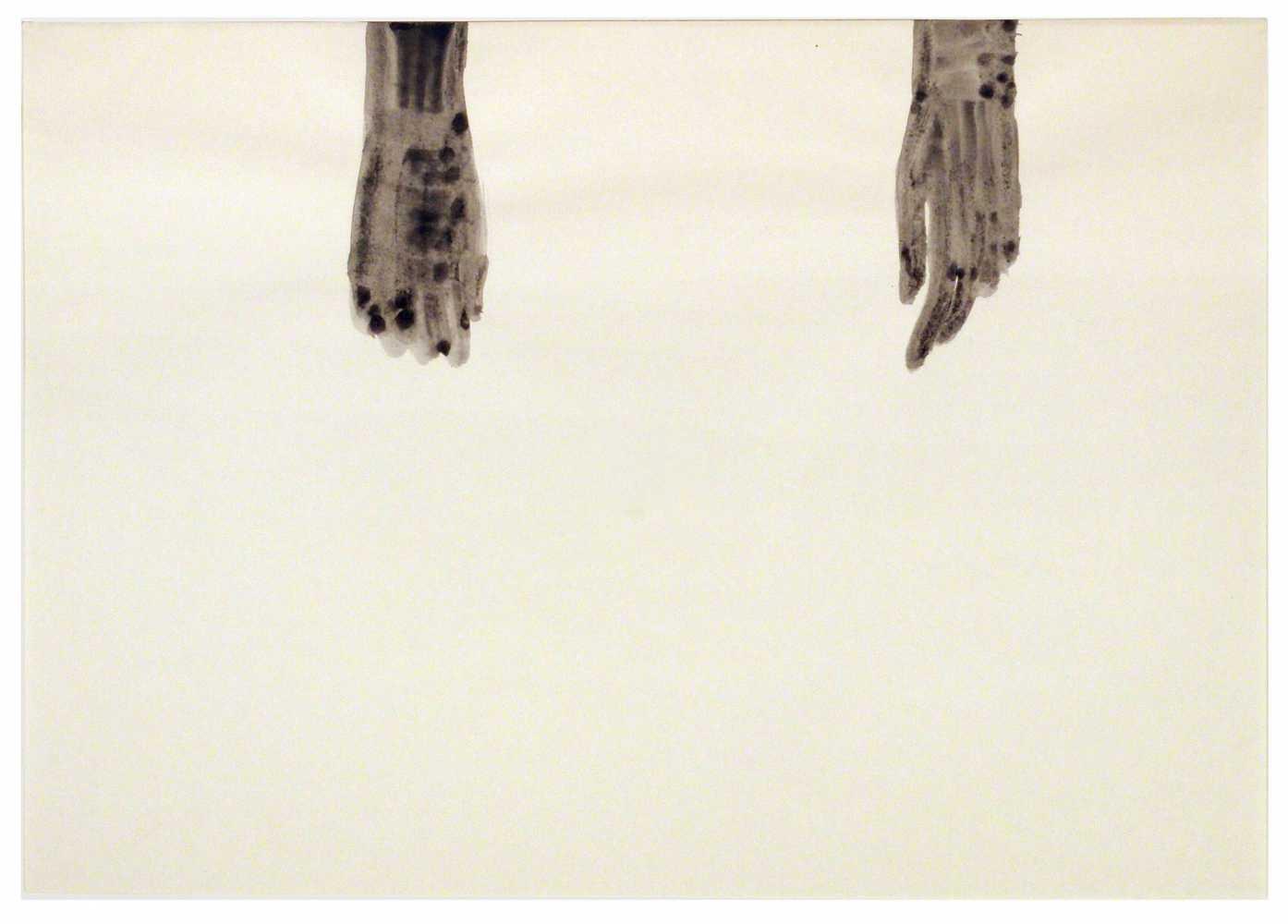 Lot 9 - Silvia Bächli Baden/AG 1956 - lebt in Basel und Paris Ohne Titel (Hände). Gouache. 2002. 31 x 44 cm.