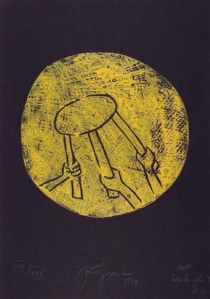 Lot 55 - Felix DroeseSingen 1950 - lebt in MettmannIWF Washington DC Köln. Holzschnitt. 1994. 39 cm (