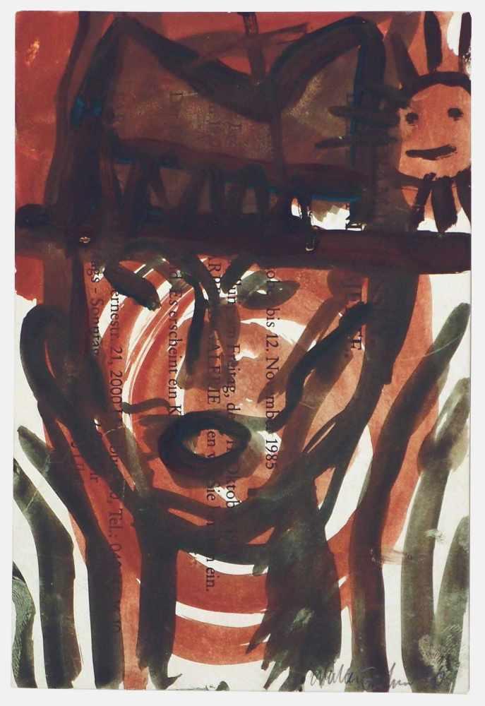 Lot 49 - Walter DahnSt.Tönis 1954 - lebt in KölnJoseph Beuys. Gouache. 1986. 16,6 x 11,3 cm. Signiert und