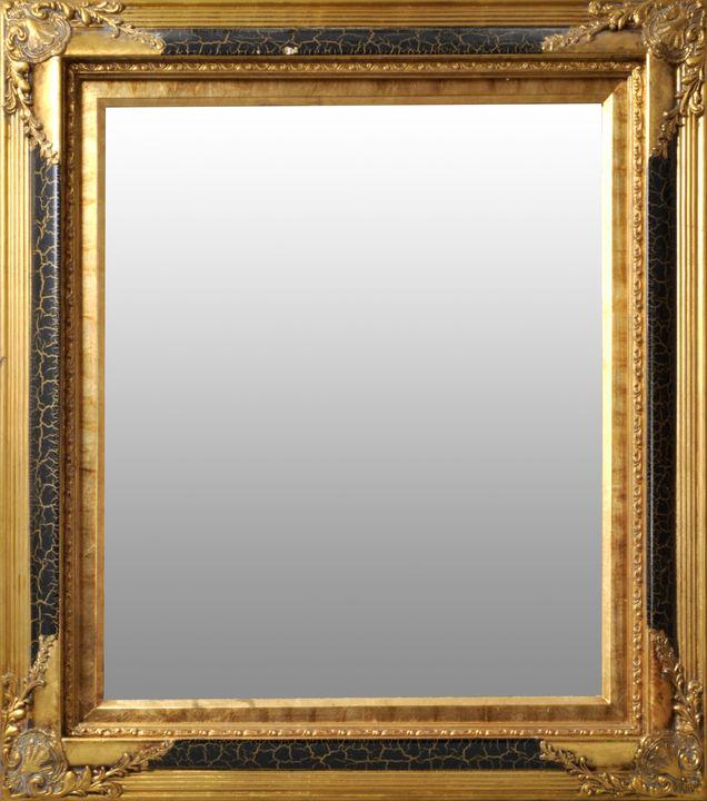 Lot 6 - Rahmen mit Spiegel, BarockstilStark profilierte Leiste mit Eckauflagen, in Goldbronze und Schwarz
