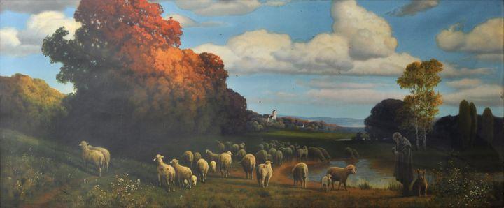 Lot 41 - Rüdisühli, Hermann. 1864 Lenzburg - 1944 MünchenHerbstliche Stimmungslandschaft mit Schafhirte am