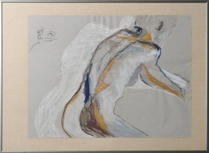Lot 1 - Undeutlich signiert (Pletsche ?) Künstler klären,Weiblicher Rückenakt. 1995. Mischtechnik