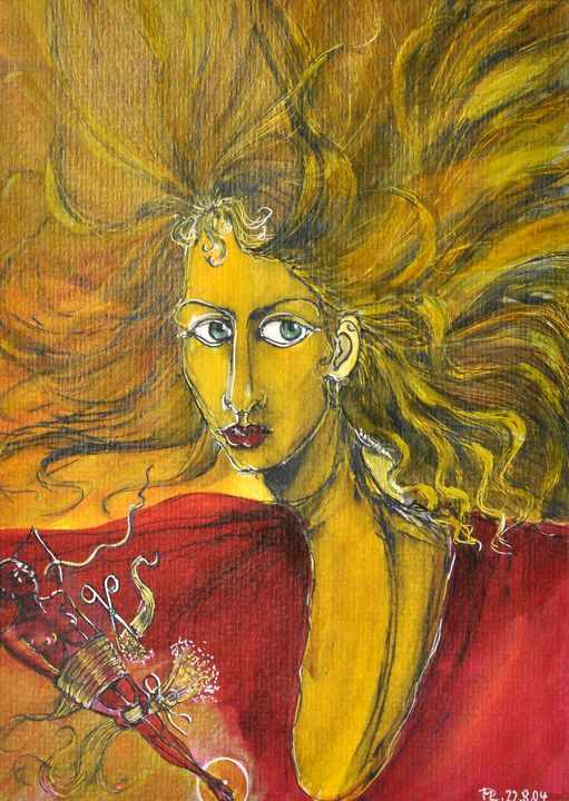 Lot 51 - Resch, Martina Veronika.O.T. (Frau mit rotem Kleid und langem Haar). 2004. Mischtechnik (Aquarell,