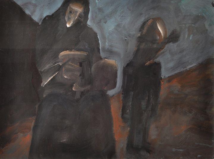 Lot 21 - Unbekannt, E. 20./ Anf. 21. Jh.Komposition mit Figuren (Trauernde). Öl auf Papier, 29,5 x 42 cm,