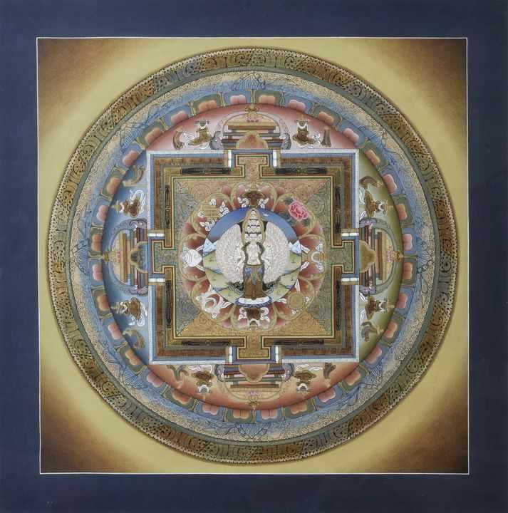 Lot 42 - Mandala des Avalokiteshvara, Nepal, neuzeitlichIm Zentrum die buddhistische Gottheit des unendlichen