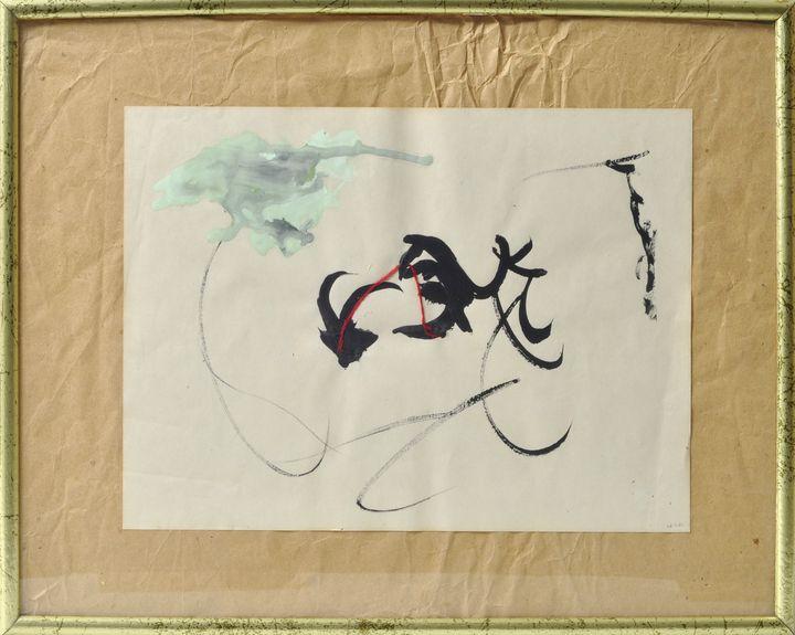 Lot 28 - Böhme, Olaf (?), 1980O.T. (abstrakte Komposition). Deckfarbe und Stopfgarn auf Papier, auf
