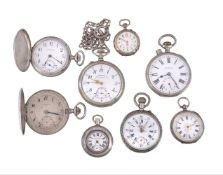A collection of eight silver, silver coloured and white metal pocket watches