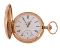 Louis Grisel, 14 carat gold full hunter keyless wind pocket watch