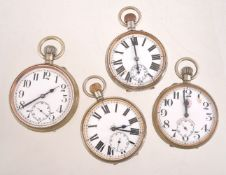 Roskopf, Messaggero,Base metal open face keyless wind Goliath pocket watch