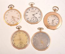 A collection of five gold plated slim line pocket watches