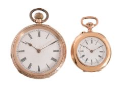 Unsigned,14 carat gold open face keyless wind pocket watch