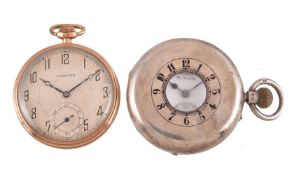 Cymrex,Gold plated open face keyless wind pocket watch