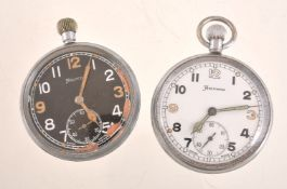 Helvetia,Base metal open face keyless wind military pocket watch