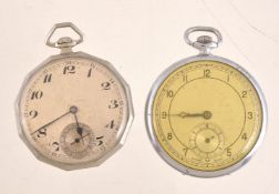 Unsigned,Silver plated open face keyless wind pocket watch