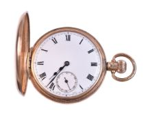 Unsigned, 9 carat gold half hunter keyless wind pocket watch