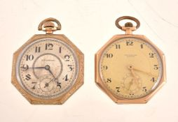 John C. Diggins, Hamilton,Gold plated open face keyless wind octagonal pocket watch