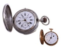 Perret & Fils,Silver coloured full hunter keyless wind repeater chronograph pocket watch